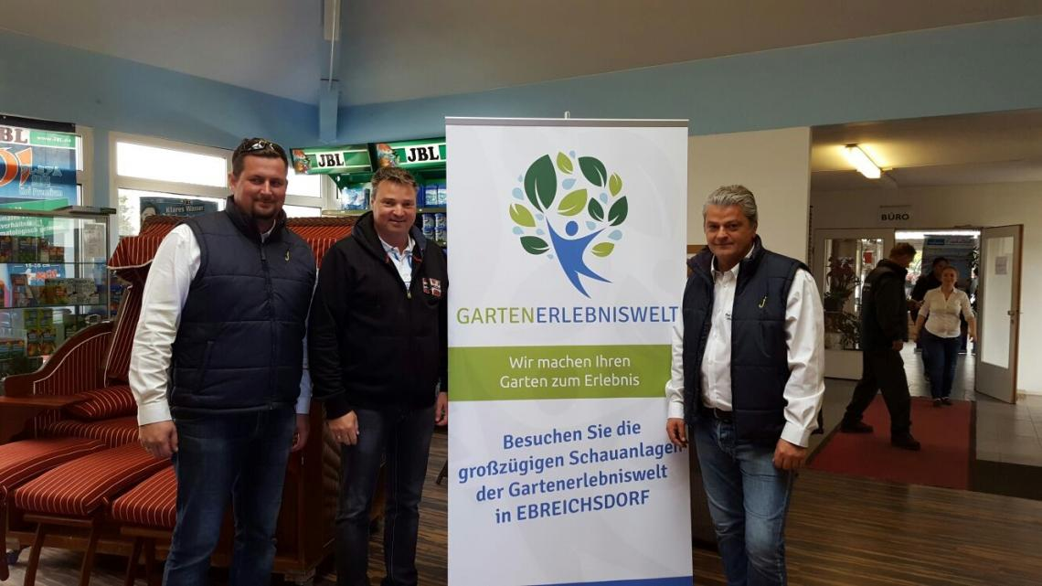 Philipp Holz (Geschäftsführer Gartenerlebniswelt), Wolfgang Kocevar (Bürgermeister Ebreichsdorf), Wolfgang Wessin (Geschäftsführer Gartenerlebniswelt)